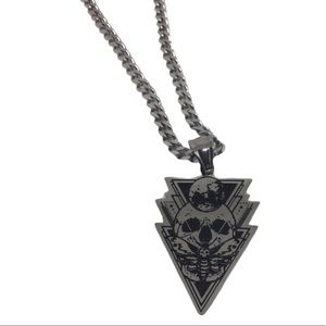 Men's Stainless Steel Skull Moth Moon Necklace